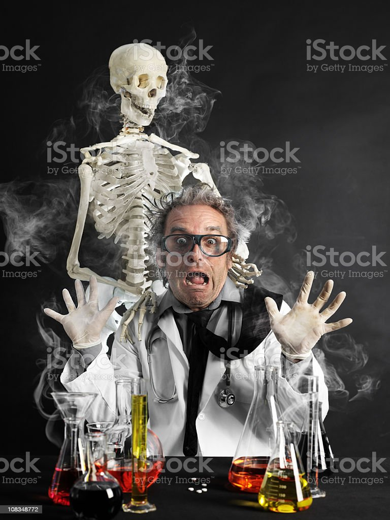 Mad professor scared royalty-free stock photo