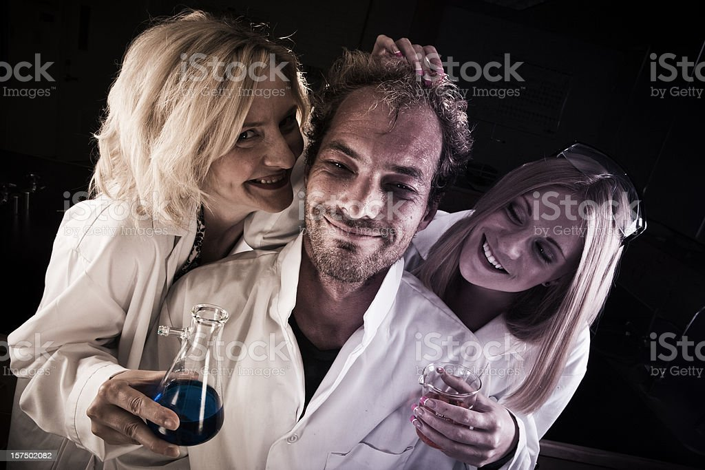 Mad Scientist creates love potion royalty-free stock photo