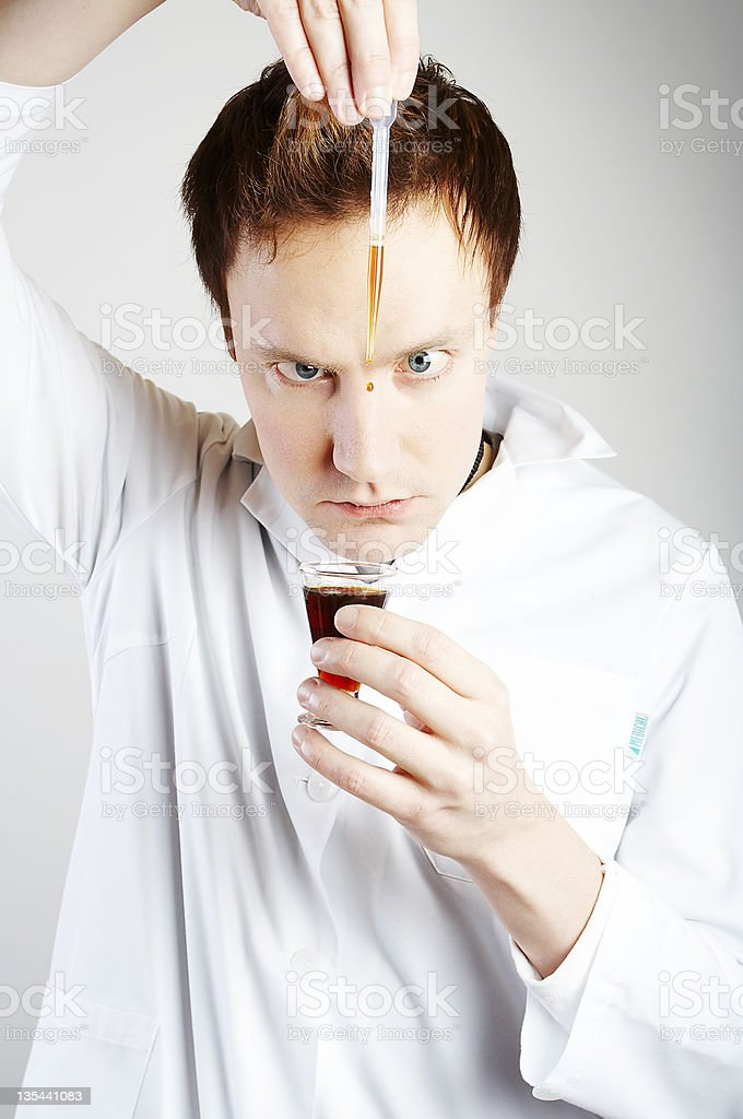 Mad scientist stock photo