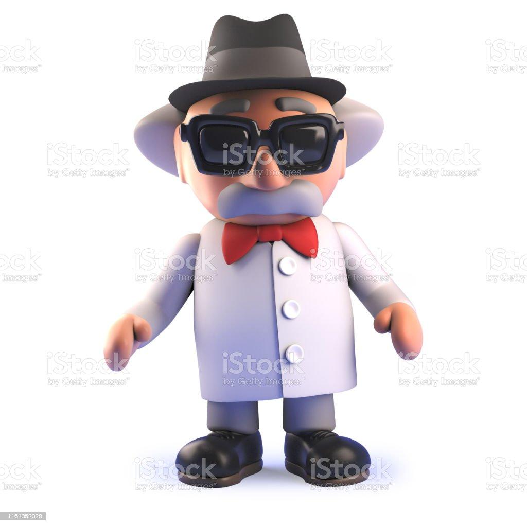 ポークパイトリルビー帽子をかぶった3dでマッドサイエンティスト