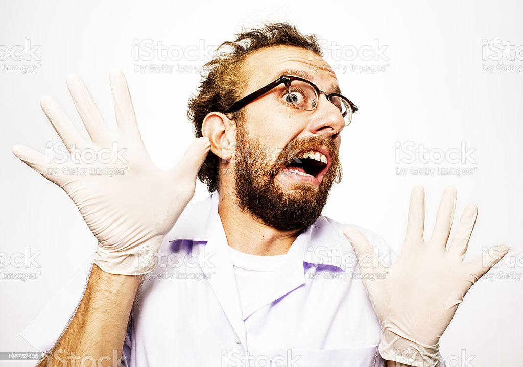 Mad Scientist Rubber Gloves royalty-free stock photo