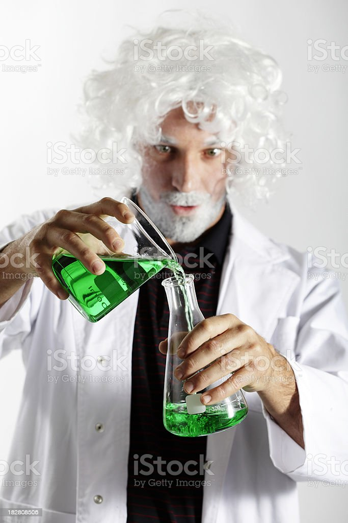 Mad Scientist With Beakers royalty-free stock photo