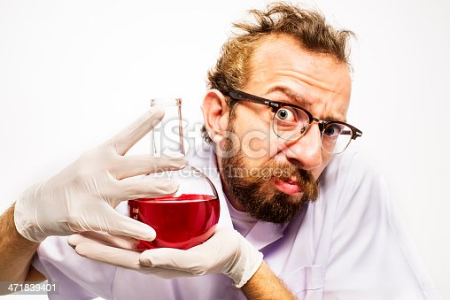 istock Mad Scientist With Red Liquid 471839401