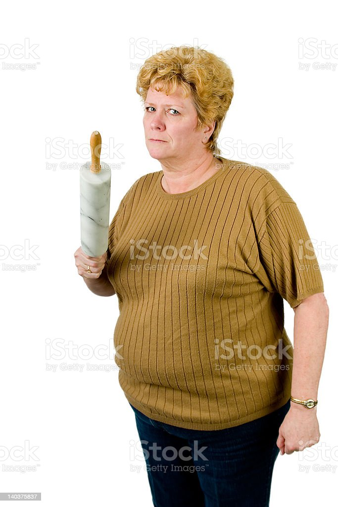 mad woman with rolling pin royalty-free stock photo