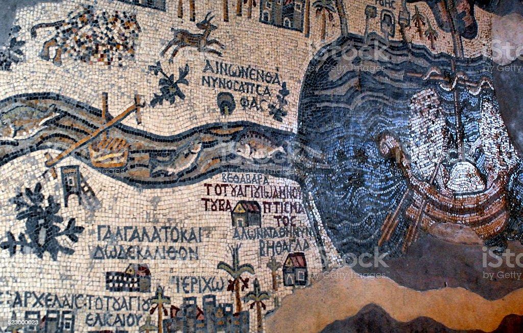 Madaba - Jordan: Byzantine Mosaic map of the Holy Land stock photo