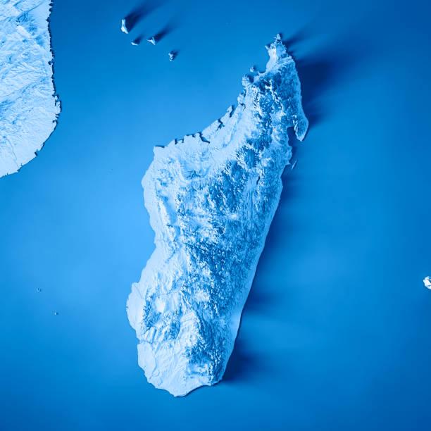 bleu de carte topographique pour le rendu 3d madagascar - comores photos et images de collection