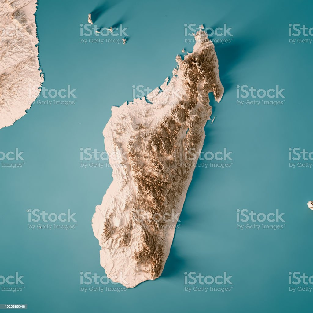 Topographic Map Of Madagascar.Madagascar 3d Render Topographic Map Neutral Stock Photo More