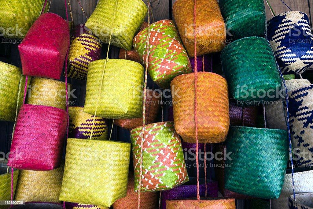 Madagascar, Antananarivo, baskets in market. stock photo