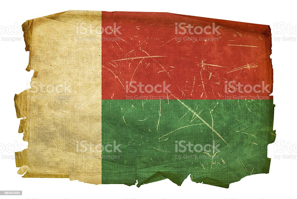 Madagascar Flag old, isolated on white background. royalty-free stock photo