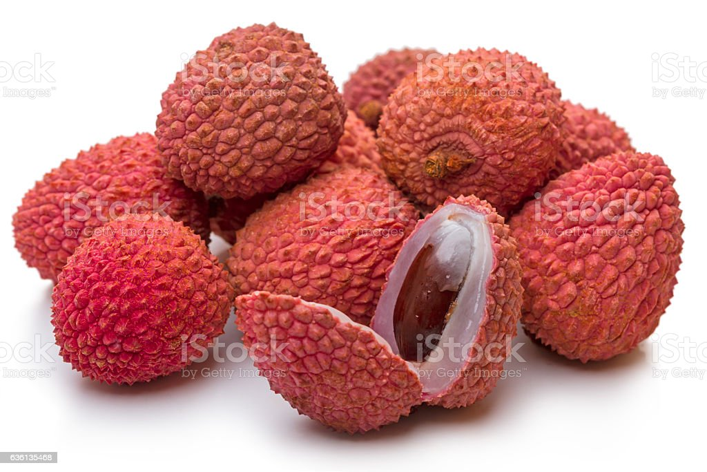 Madagascar litchi on white stock photo