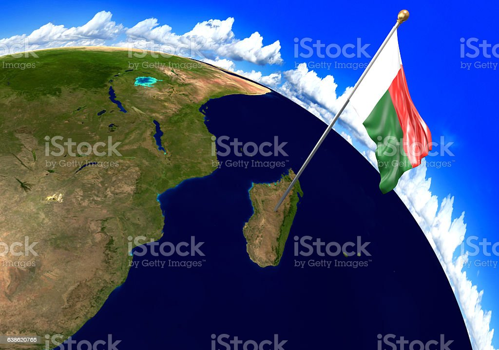 Madagascar National Flag Marking The Country Location On World Map
