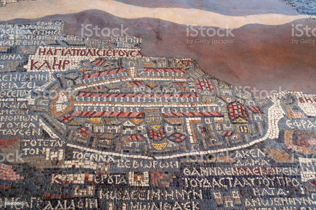 Madama: the Madaba Mosaic Map, a map with hills, valleys and towns in Palestine and the Nile Delta dating from the 6th century on the floor of the Greek Orthodox Basilica of Saint George stock photo