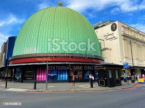 London, United Kingdom - August 4 2020: Madame Tussauds wax museum exterior street view