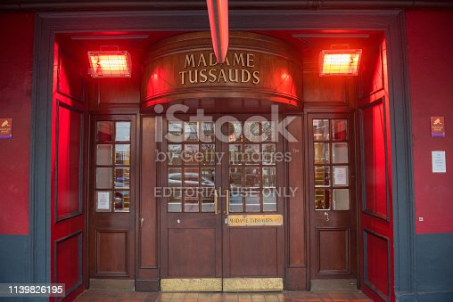 London, UK - March 22, 2019: The Madame Tussauds is a wax museum in London near the Planetarium, founded by sculptor Marie Tussaud