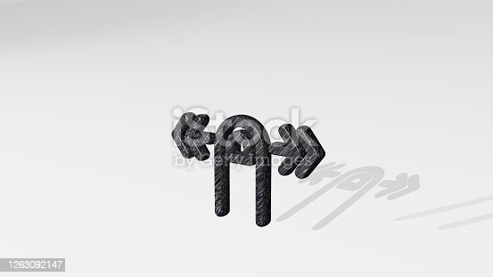 istock GESTURE SWIPE HORIZONTAL made by 3D illustration of a shiny metallic sculpture casting shadow on light background. hand and business 1263092147