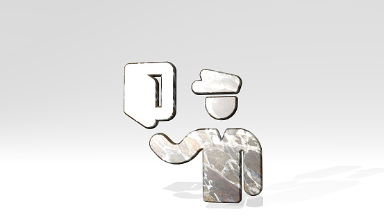 istock SECURITY OFFICER PASSPORT made by 3D illustration of a shiny metallic sculpture casting shadow on light background. concept and icon 1263511246