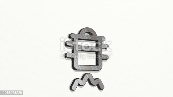 istock STOVE STEAMER GAS made by 3D illustration of a shiny metallic sculpture on a wall with light background. kitchen and cooking 1263078228