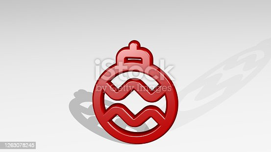 istock CHRISTMAS TREE ORNAMENT made by 3D illustration of a shiny metallic sculpture with the shadow on light background. celebration and abstract 1263078245