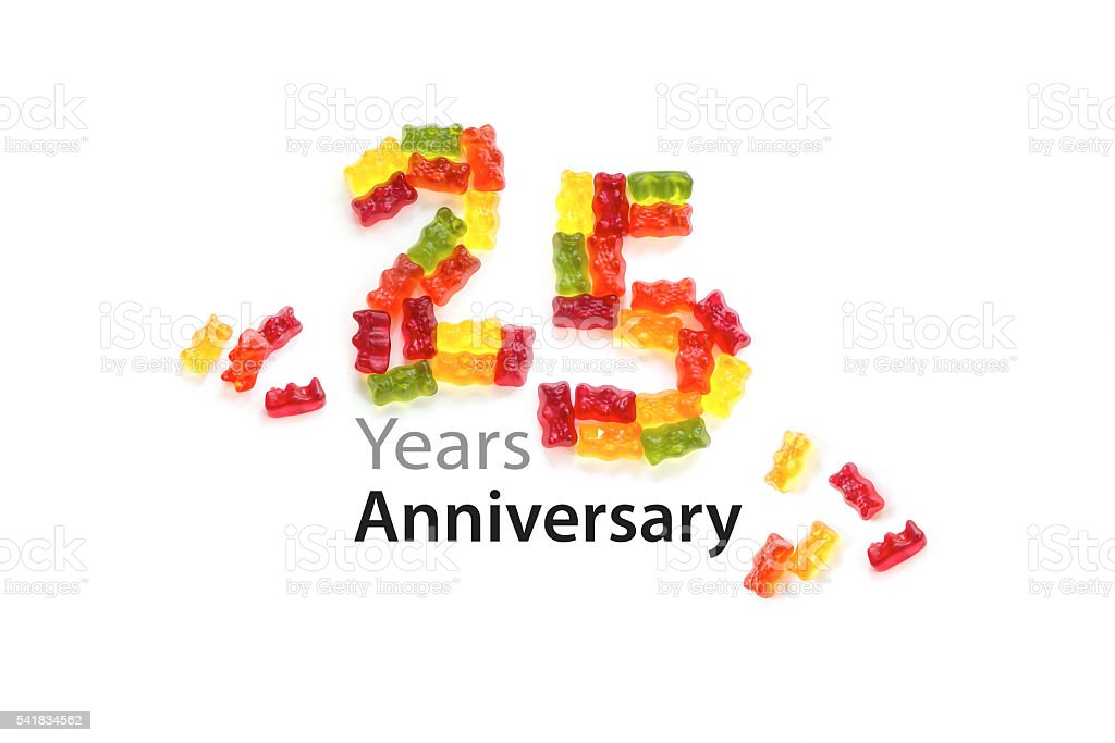 25 made from gummy bears white, text Years Anniversary stock photo