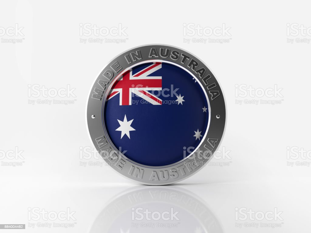 Made In Australia Badge On White Background stock photo