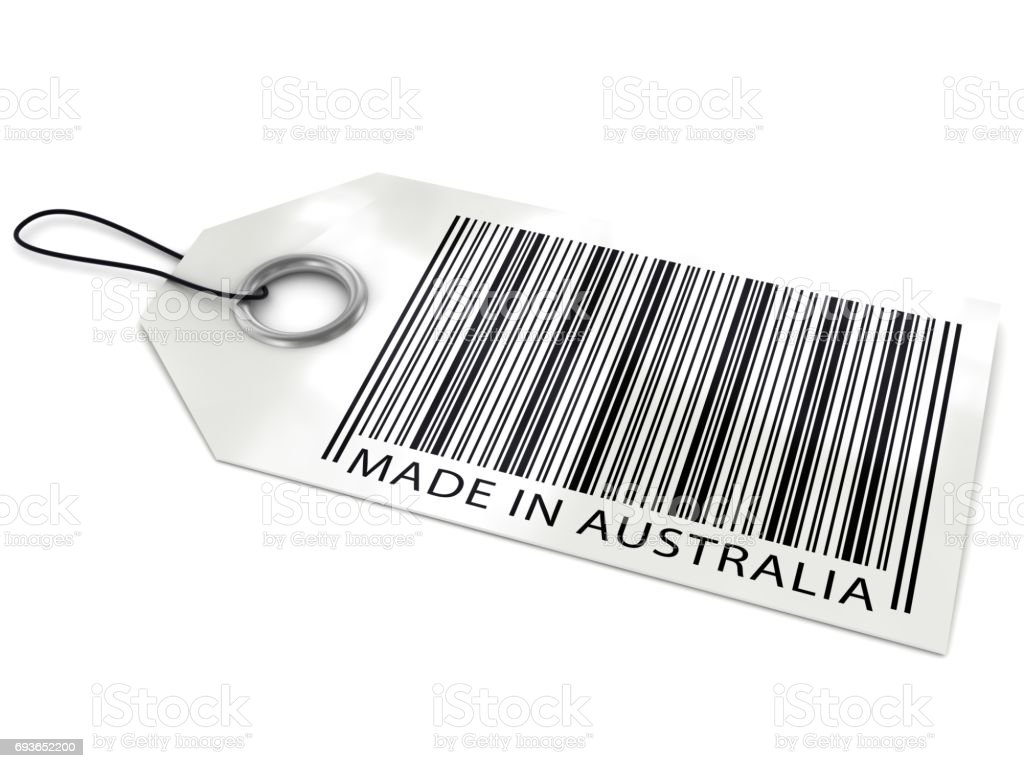 Made in Australia barcode tag stock photo