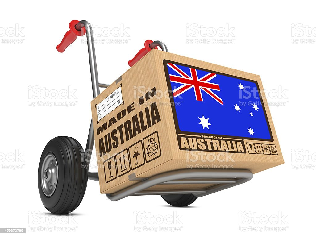 Made in Australia - Cardboard Box on Hand Truck. stock photo