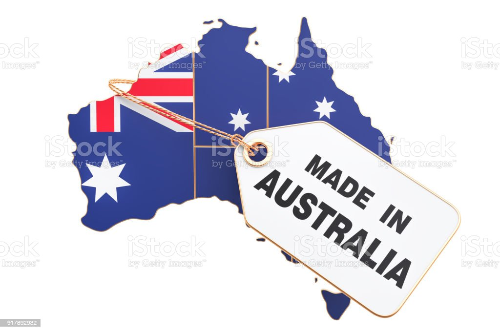Made in Australia concept, 3D rendering isolated on white background stock photo