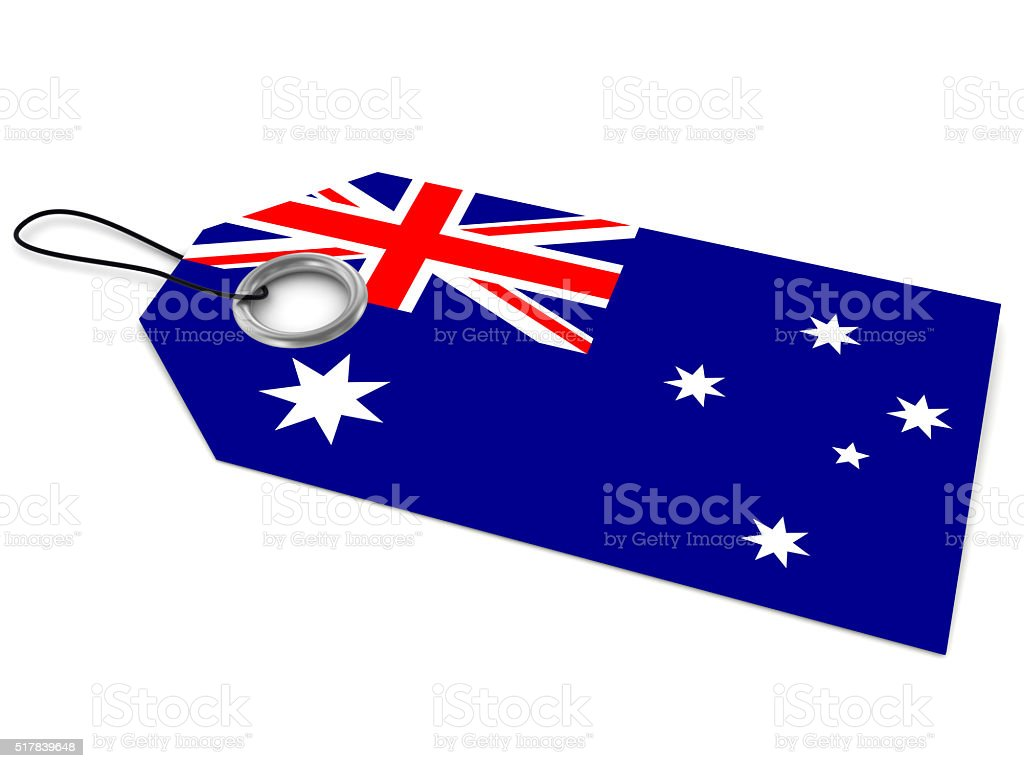 Made in Australia price tag stock photo