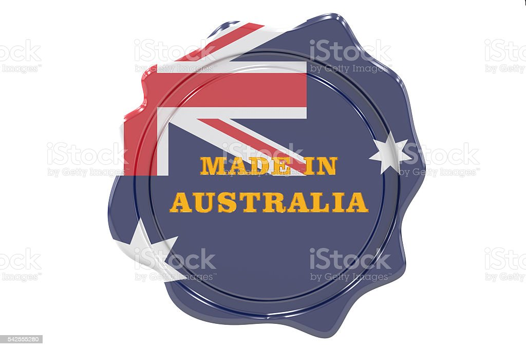 made in Australia seal, stamp. 3D rendering stock photo