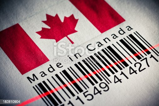 92884259 istock photo Made in Canada product's barcode 182810904