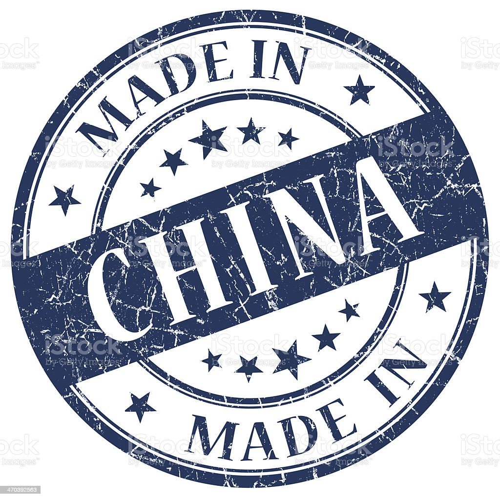 Made In China blue stamp stock photo