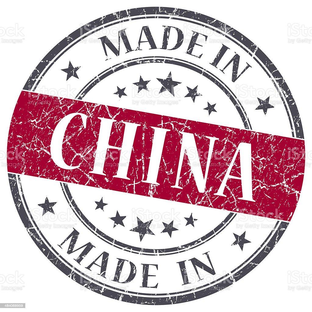 made in China red grunge round stamp stock photo