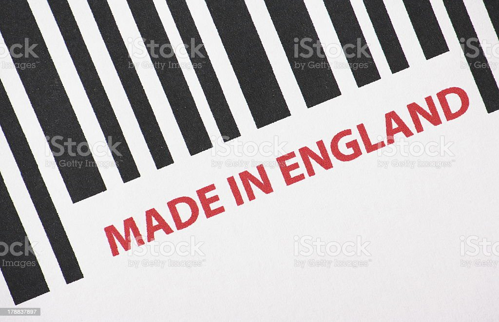 Made In England Barcode royalty-free stock photo