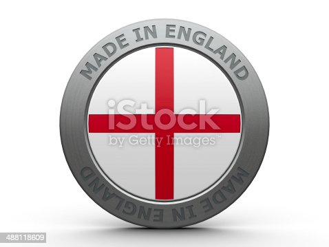 Emblem - made in England, three-dimensional rendering
