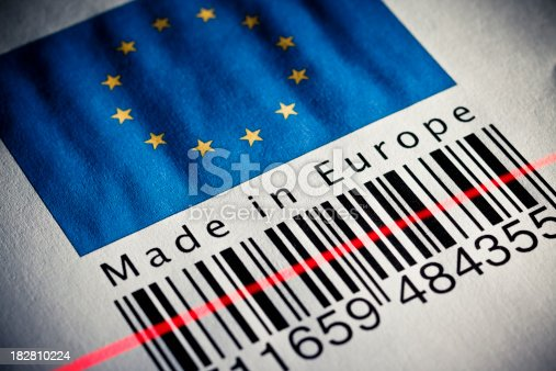 92884259 istock photo Made in Europe product's barcode 182810224