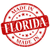 made in Florida red round grunge isolated stamp