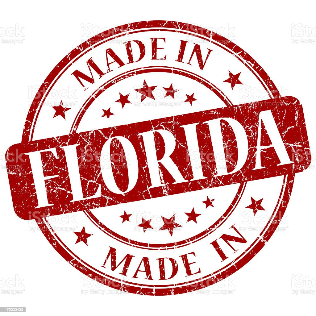 made in Florida red round grunge isolated stamp stock photo