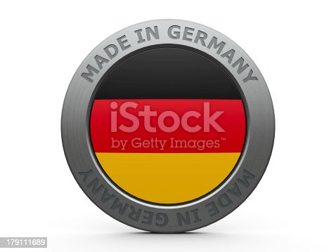Emblem - made in Germany, three-dimensional rendering