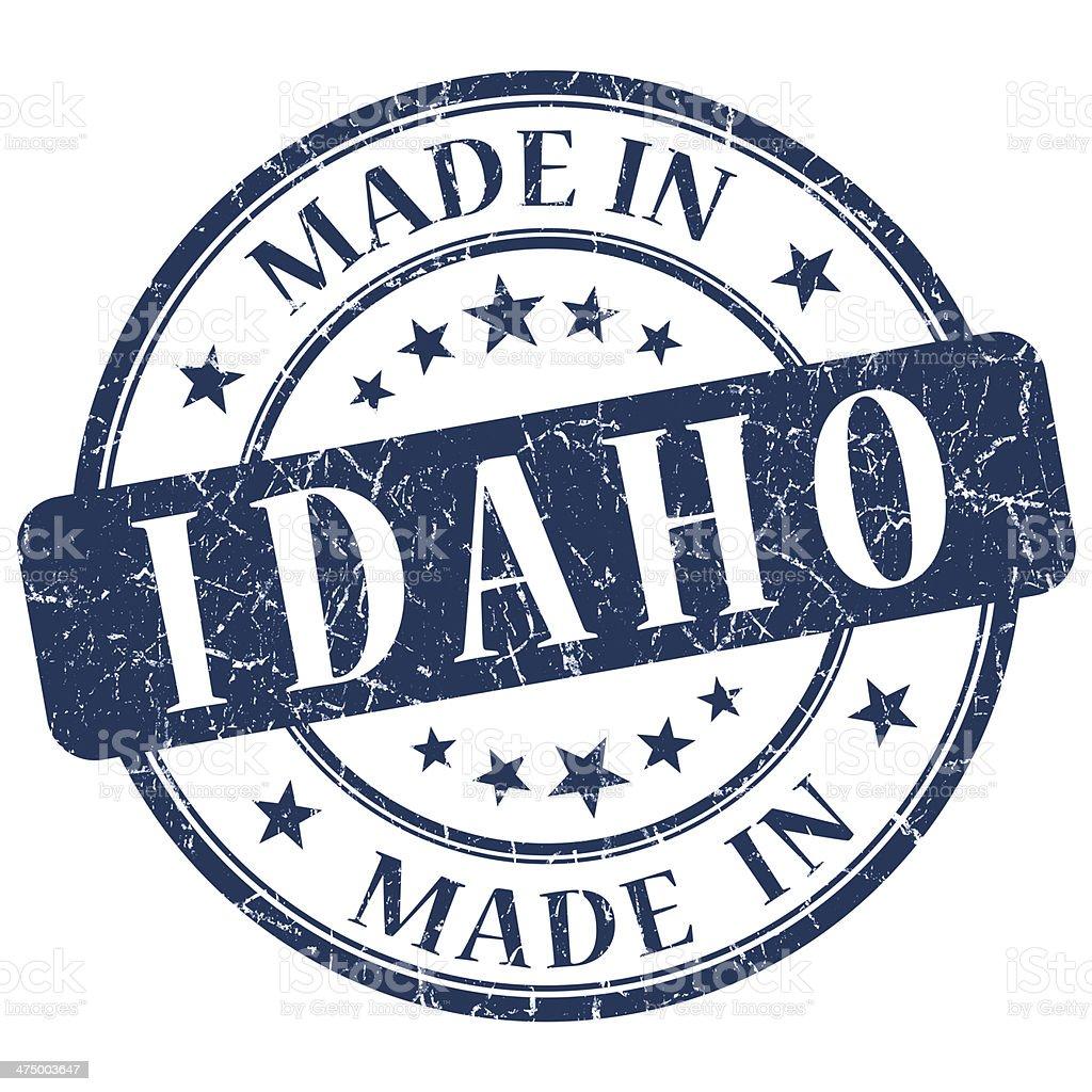 made in Idaho blue round grunge isolated stamp stock photo