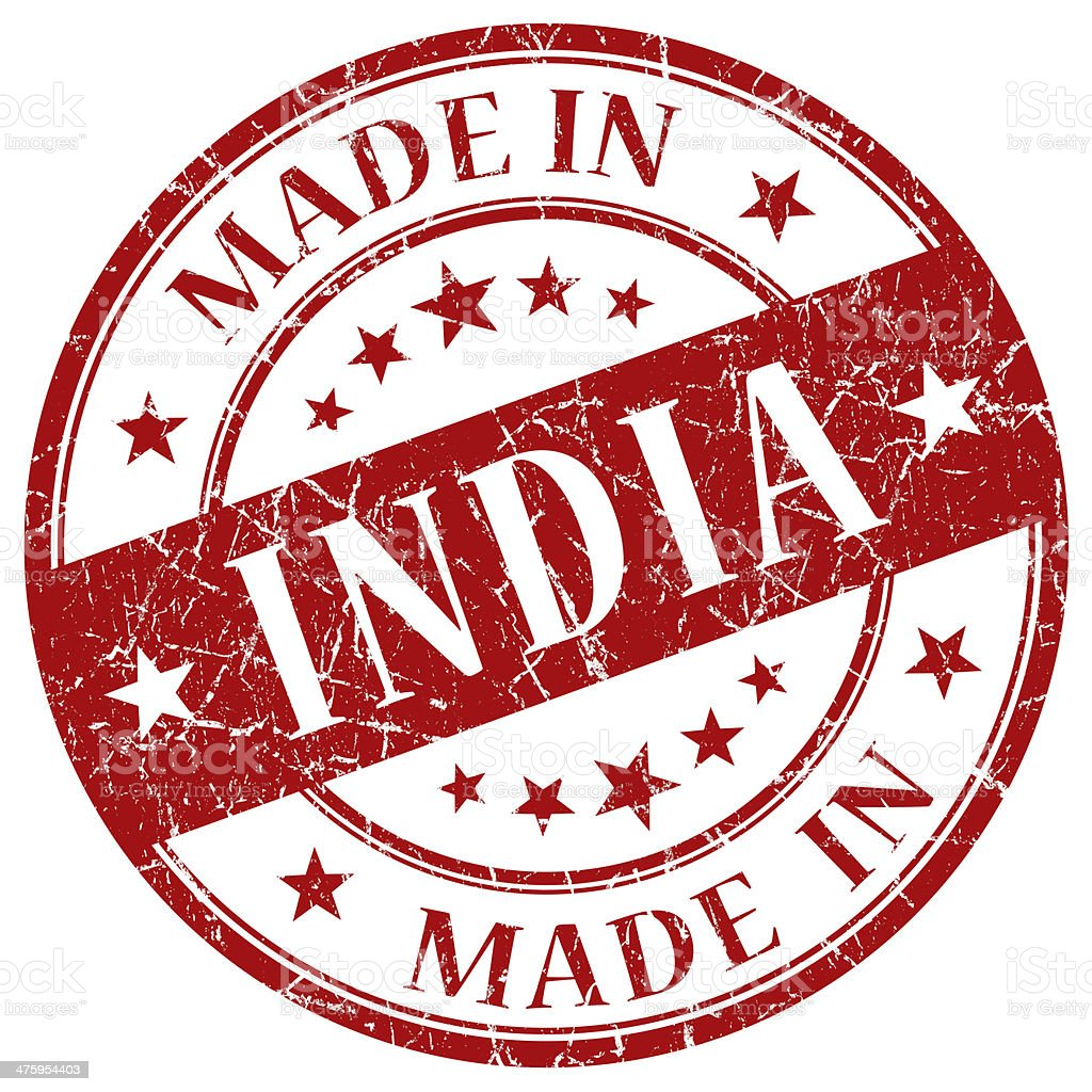Made In India red stamp stock photo