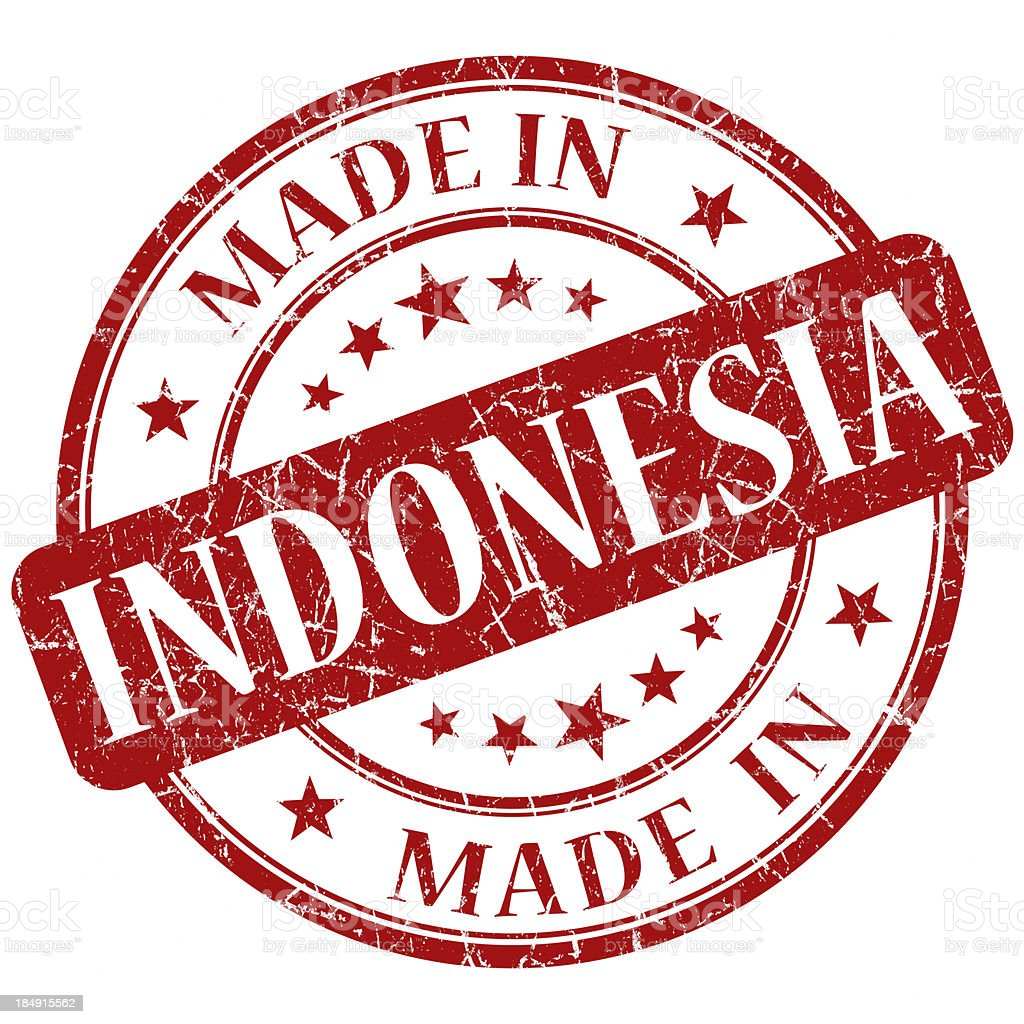 made in indonesia red stamp royalty-free stock photo