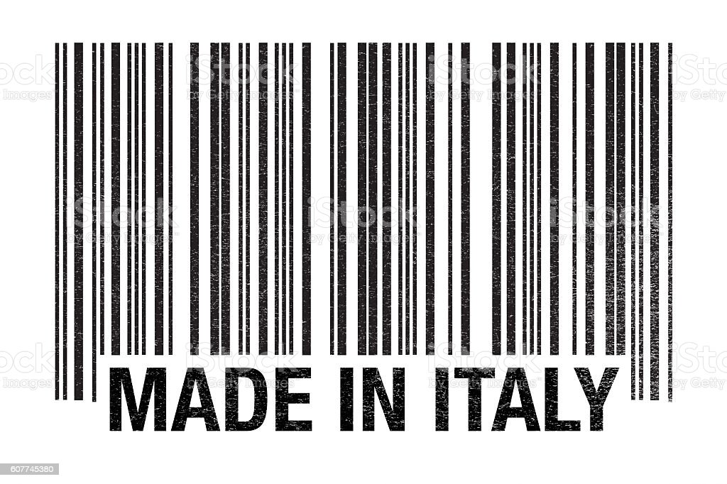 Made In Italy Barcode On White stock photo
