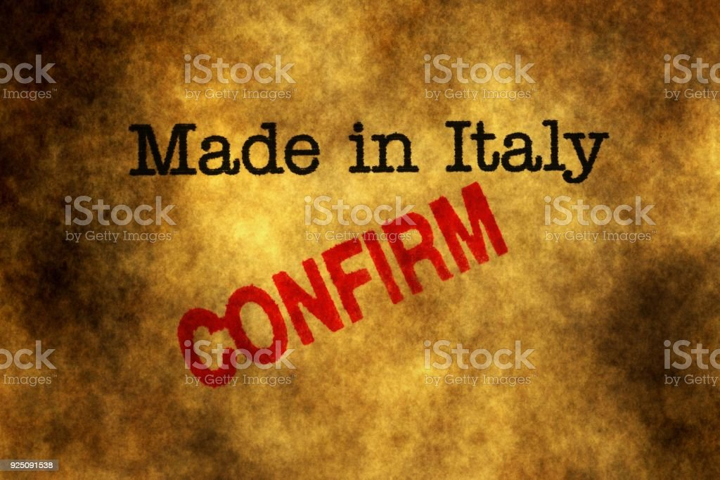 Made in Italy confirm stock photo