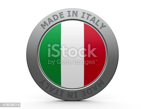 Emblem - made in Italy, three-dimensional rendering