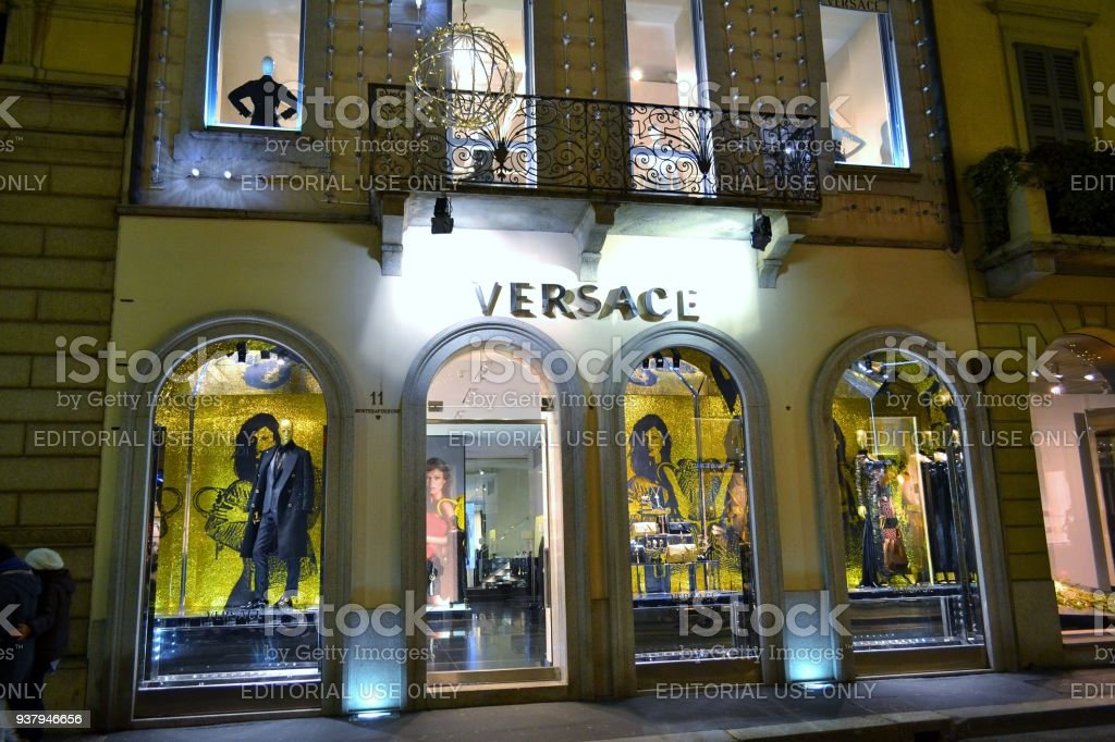 104dcd5a4c Made in Italy  Versace boutique in Montenapoleone fashion shopping street  in Milan. royalty-