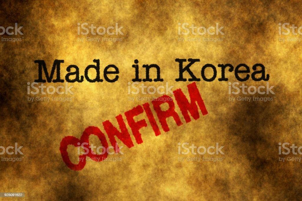 Made in Korea confirm stock photo