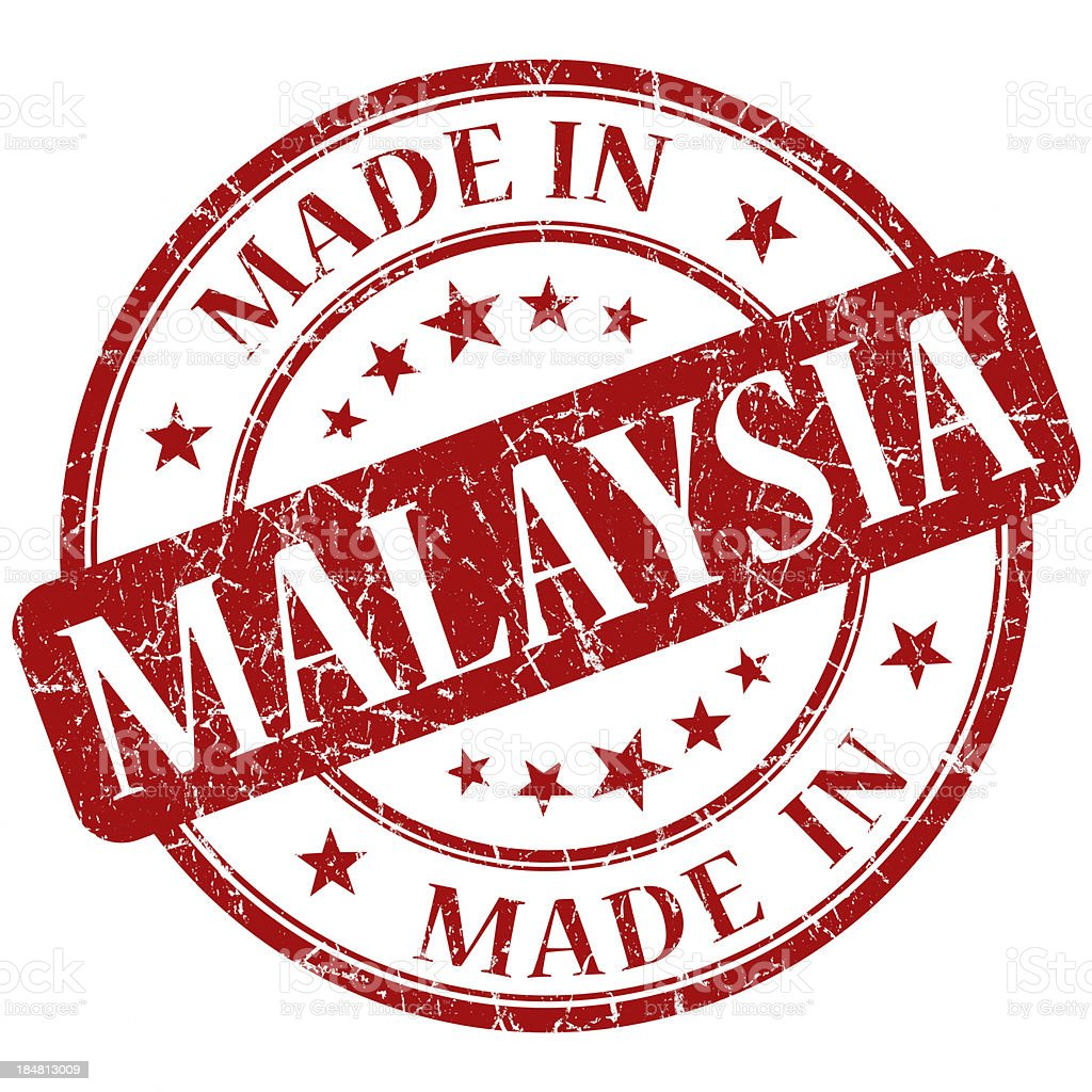 made in malaysia red stamp royalty-free stock photo