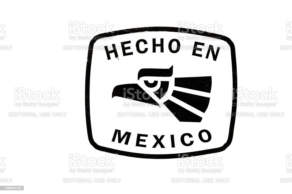 Made In Mexico Sign, Hecho En, Black and White royalty-free stock photo