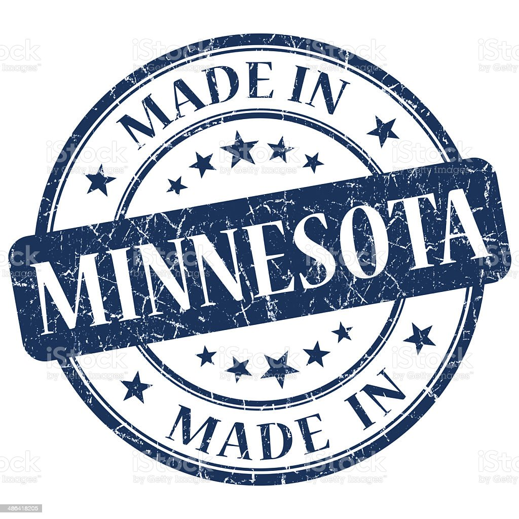 made in Minnesota blue round grunge isolated stamp stock photo