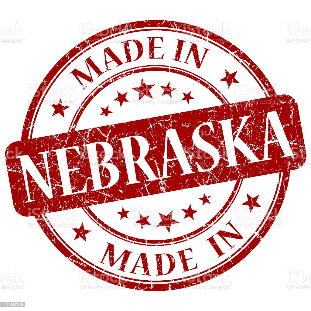made in Nebraska red round grunge isolated stamp stock photo
